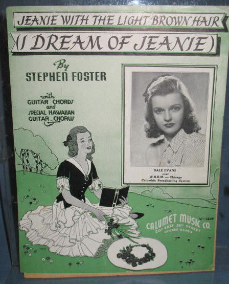 Jeanie with the Light Brown Hair sheet music with guitar chords and special Hawaiian Guitar chorus