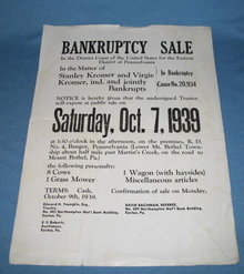 Kromer Bankruptcy Sale broadside, Lower Mt. Bethel Township, PA