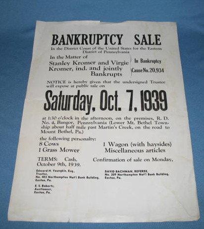 Kromer Bankruptcy Sale broadside, Lower Mt. Bethel Township, PA