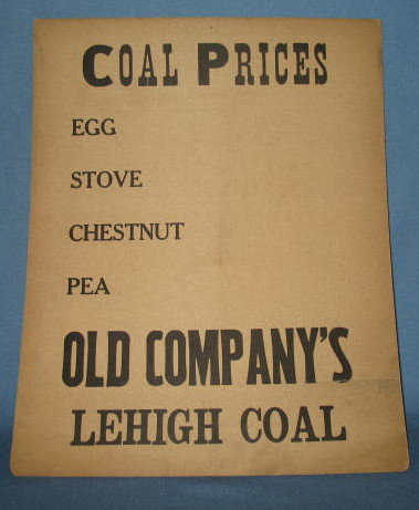 Old Company's Lehigh Coal placard