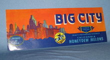 Big City California Honeydew Melons fruit crate label