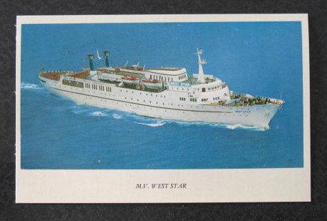 M. V. West Star postcard