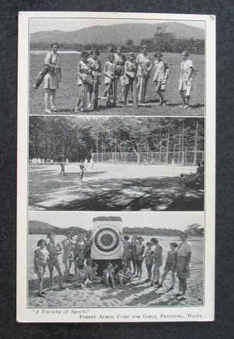 A Variety of Sports, Forest Acres, Camp for Girls, Fryeburg ME  postcard
