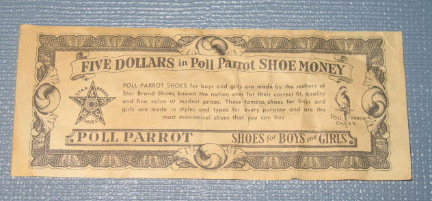 Five Dollars in Poll Parrot Shoe Money bill