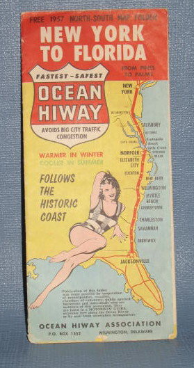 1957 New York to Florida map folder
