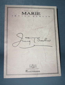 Marie by Irving Berlin sheet music for piano, vocal, guitar