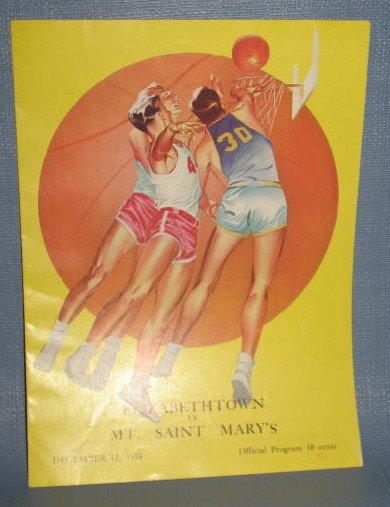 Elizabethtown vs. Mt. Saint Mary's December 12, 1950 basketball program