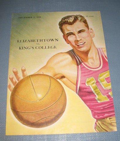 Elizabethtown vs. King's College December 2, 1950 basketball program