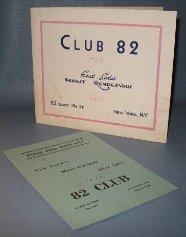 Club 82, New York, NY food and wine list and souvenir photos
