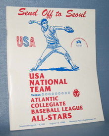 Send Off to Seoul : USA National Team versus Atlantic Collegiate Baseball League All-Stars souvenir program