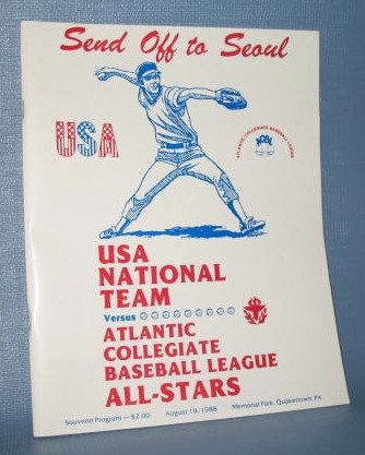 Send Off to Seoul : USA National Team versus Atlantic Collegiate Baseball League All-Stars souvenir program