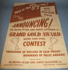 Motion Picture Song Contest Association brochure