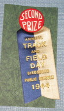 Second Prize ribbon : Track and Field Day, Birdsboro (PA) Public Schools 1944