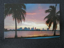 Sunset over Miami, FL  postcard