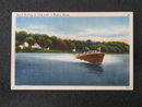 Speed Boating on Long Lake at Naples ME postcard