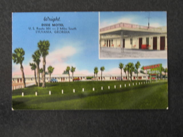Wright Dixie Motel, Sylvania, GA postcard