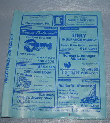 Quakertown PA plastic telephone book cover