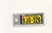 1968 Pennsylvania key chain license plate