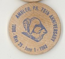 Ambler  PA 75th Anniverary wooden nickel (blue)