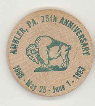 Ambler  PA 75th Anniverary wooden nickel (green)