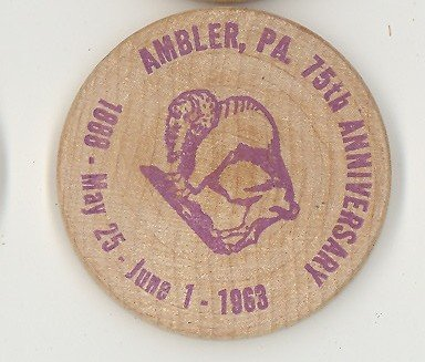 Ambler  PA 75th Anniverary wooden nickel (purple)
