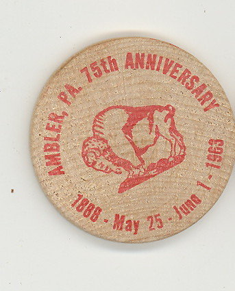 Ambler  PA 75th Anniverary wooden nickel (red)