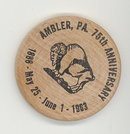Ambler  PA 75th Anniverary wooden nickel (black)