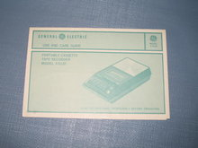 Use and Care Guide for General Electric Portable Cassette Tape Recorder Model 3-5120