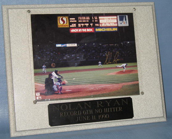 Nolan Ryan Record 6th No Hitter June 11, 1990 photo plaque