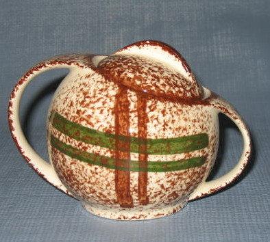 Blue Ridge (Southern) Pottery Rustic Plaid lidded sugar bowl