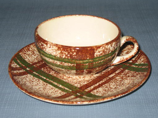 Blue Ridge (Southern) Pottery Rustic Plaid cup and saucer