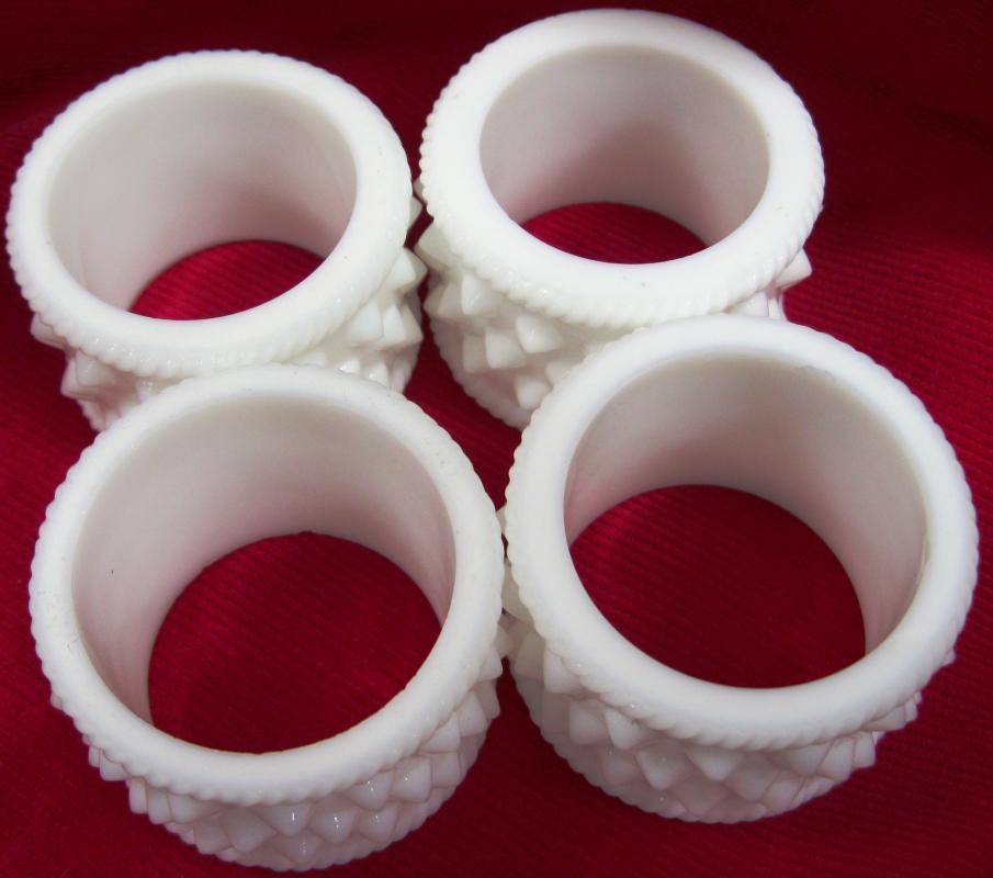 Set of Four Fenton Milk Glass  Hobnail Napkin Rings