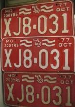 Set of Three Matching Numbered 1976 Missouri Bicentennial License Plates