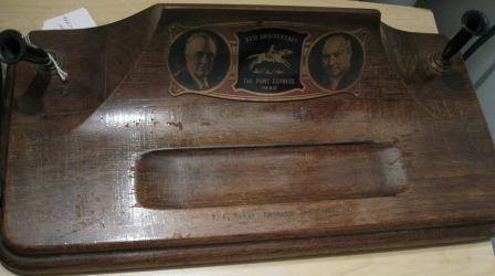 1940 Wooden Pen Holder/Desk set celebrating the 80th anniversary of the Pony Express featuring Franklin D. Roosevelt and James Farley