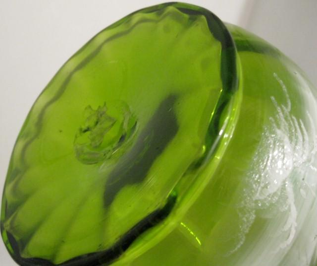 Early Mary Gregory Green Blown Glass Pitcher