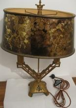 Art Deco Period Metal Base Lamp- Candelabra style
