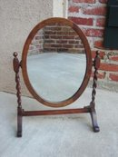 Antique English Oak Barley Twist Oval Vanity Mirror