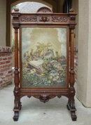 Antique French Victorian Carved Oak Fire Screen