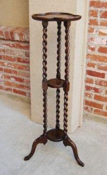 Antique English Oak Barley Twist Pedestal Plant Stand