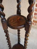 Antique English Oak Barley Twist Pedestal Plant Stand