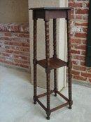 Antique English Oak Jacobean Bobbin Plant Stand Display