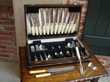 Antique English Oak Flatware Cabinet Box Firth