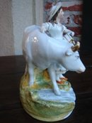 PAIR Antique Staffordshire Cows and Milk Maid