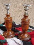 PAIR Antique English Oak Candlesticks w Cast Metal