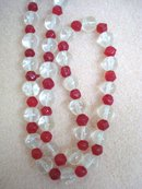 Antique Glass Necklace Clear and Red Crystal