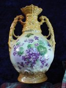 Antique Vase Violets Oriental Style Handles