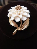 Antique Boucher Broach Ivory Dahlia