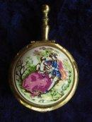 Purse Portable Ashtray Brass/Porcelain Limoge