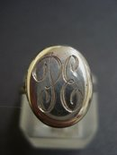 Antique Locket Ring Sterling Monograms
