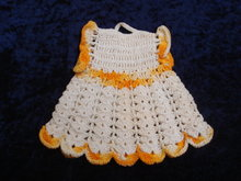 Figural Pothholder Tiny Dress hand Crochet